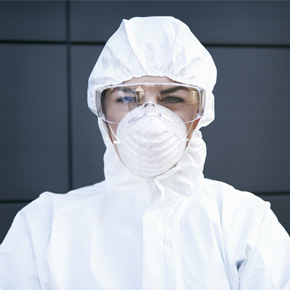 Woman wearing ppe mask